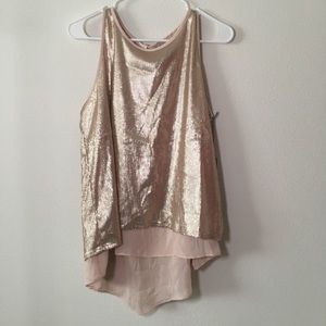 rose gold colored sequined tank
